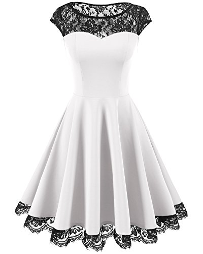 Homrain Women's Vintage 1950s Floral Lace Scoop Neck Cap Sleeve Cocktail Party Dress White S