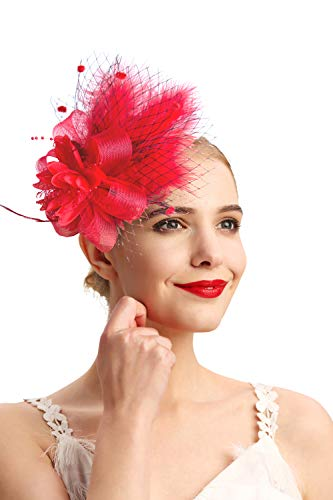 Women's Fascinators Hat Hair Clip Feather Wedding Headware Bridal 1920s Headpiece(1-red) ()