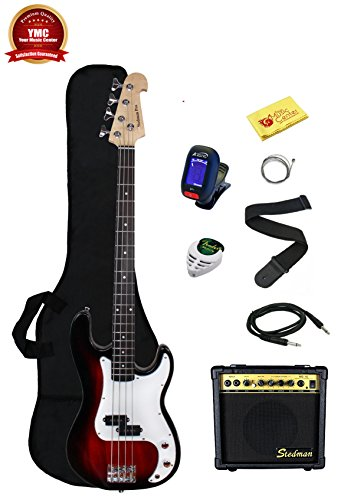 Stedman Beginner Series Bass Guitar Bundle with 15-Watt Amp, Gig Bag, Instrument Cable, Strap, Strings, Picks, and Polishing Cloth – Transparent Red