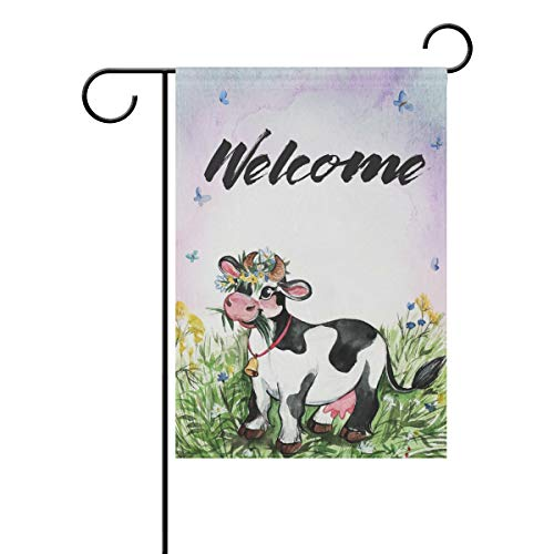 AGONA Watercolor Cow Butterfuly Farmhouse Welcome Garden Flag 28 x 40, Outdoor Vertical Double Sided Yard Flags Seasonal Holiday Decorative House Flag for Garden Decor Party Housewarming Gift Hostess from AGONA
