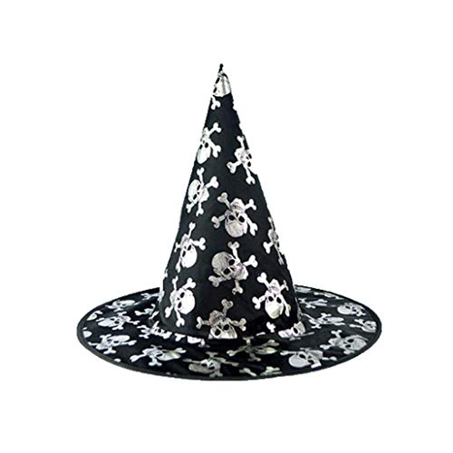 XILALU Wizard Hat Womens, Adult Black Skull Steeple Witch Cap Halloween Costume Accessory Ideal Party,Carnivals ()