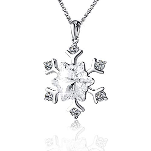 (PLATO H Sterling Silver Clear Snowflake Crystal Pendant Necklace with Swarovski Element Crystal, White Frozen Snow Necklace,Birthstone Birthday Christmas Jewelry Gift for Women, Girls, Gift Boxed, 18