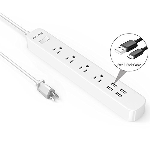 Panlong 4-Outlet Power Strip Surge Protector with 4 USB Char