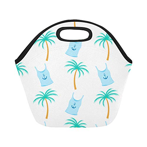 Insulated Neoprene Lunch Bag Palm Tree Tropical Female Tshirt Anchor Large Size Reusable Thermal Thick Lunch Tote Bags Lunch Boxes For Outdoor Work Office School