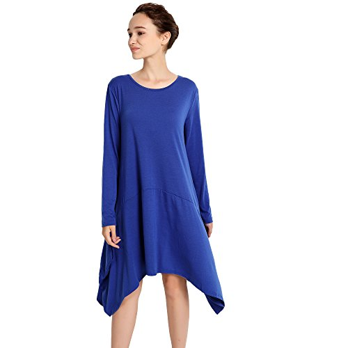 Dress Long Women's Loose Casual Vinteey T Swing Blue Shirt Hem Sleeve Tunic Irregular SP45qw5O