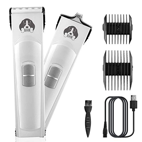 GHB Pet Clippers Cordless Double-Edged Dog Clippers Pet Grooming Clipper with Large Small Blades and 2 Combs for Dogs, Cats and Other Pets