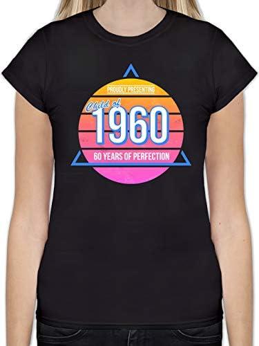 Shirtracer - urodziny - Child of 1960 retro - 60. urodziny - taliowana koszulka dla kobiet i kobiet: Shirtracer: Odzież