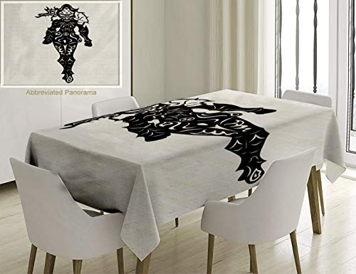 (Unique Custom Cotton And Linen Blend Tablecloth Video Game Illustration Of A Woman Demon Hunter In Black And White Battle Fantasy War Theme Tablecovers For Rectangle Tables, Small Size 48 x 24 Inches)