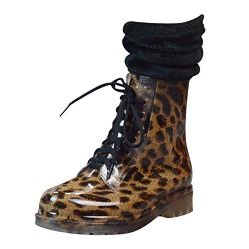 Lluvia Cordones Alto Nieve Goma LvRao Botines Mujeres Botas Calcetines Invierno de de con de Leopond Zapatos Impermeables YqzITPq