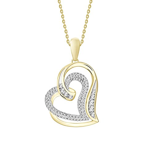 Round Natural Diamond Double Heart Pendant with 18