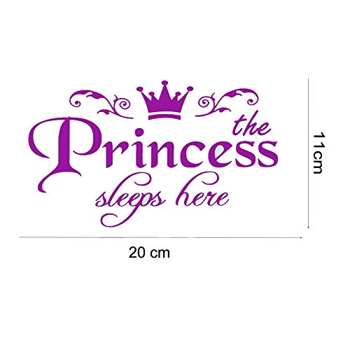 SeedWorld Wall Stickers - Removable Princess Sleeps here Wall Stickers Art Vinyl Door Decals Home Baby Girls Kids Room Bedroom Dormitory Decor 1 PCs ()