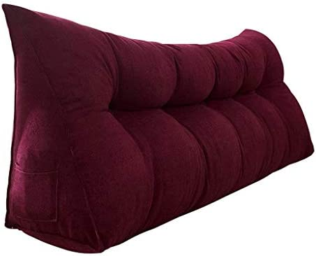 3角のファイルオフセット、ダブルソフトケース用の長い枕、ソファ付きのシート用の生地色のベルベットクッション、5色、6サイズ(色:赤サイズ:100cm)