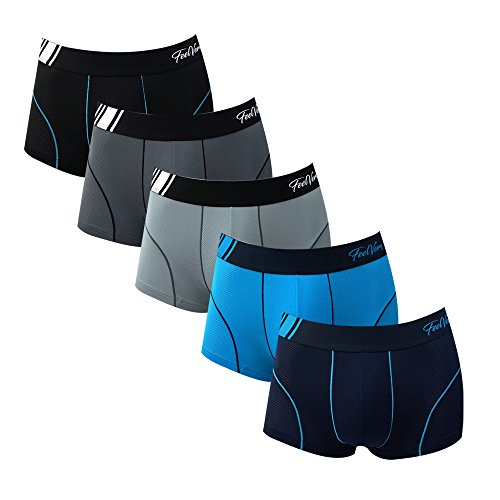 Feelvery Men's Superior Fit Microfiber Active Performance Boxer Briefs Underwear (5 Pack) - Unlimited Comfort Series (C_Line Air Ventilation Short (5P), Large)