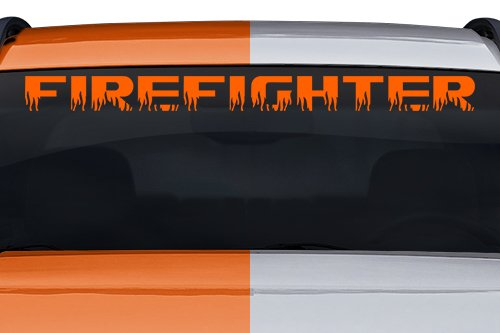 Sticky Creations - Firefighter Flame Font Flaming Fire Letters Lettering or Custom Text Windshield Decal Sticker Vinyl Graphic Back Rear Window Banner Car Truck Boat | 36