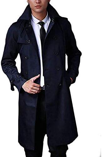 (ハビー) メンズ 春秋 ロングトレンチコート トレンチ 薄手 紳士 ビジネス 5カラー S/M/L/XL/2XL/3XL/4XL/5XL 大きめ(5カラー)