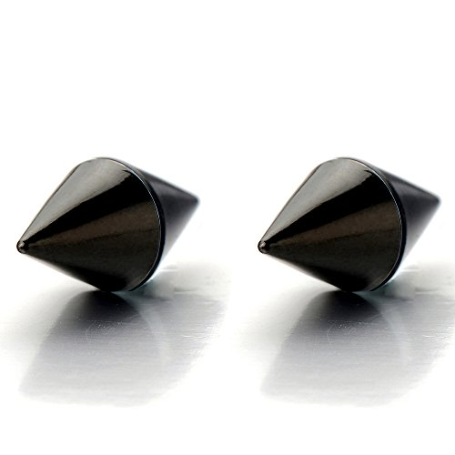 Magnetic Black Spike Stud Earrings for Men Women, Non-Piercing Clip On Steel Cheater Fake Ear Plugs - Magnetic Earrings Spike
