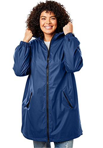 Woman Within Women's Plus Size Hooded Slicker Raincoat by Woman Within