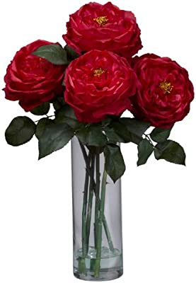 Nearly Natural 1247 Rd Fancy Rose With Cylinder Vase Silk Flower Arrangement Red Amazon Sg Home