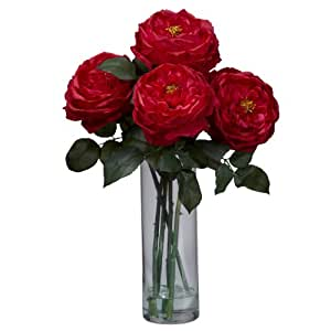 Nearly Natural 1247-RD Fancy Rose with Cylinder Vase Silk Flower Arrangement, Red
