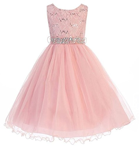 iGirlDress little girls' Sequin Lace with Tulle Flower Girl Dress 4 Blush