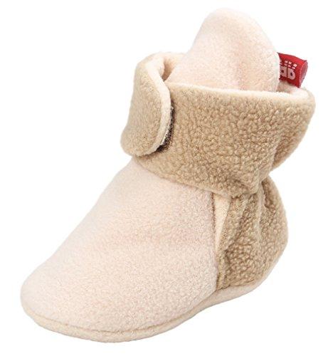 Khaki Mix (Vanbuy Baby Fleece Booties Newborn Infant Toddler Slippers Crib Shoes Warm Boots With Anti Slip Bottom WB39-Mix Khaki-L)