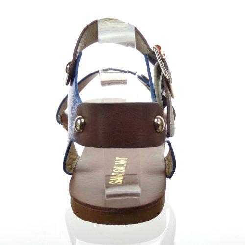 Kickly-Sandale zapatillas modo-Chanclas tobillo mujeres Clouté talón-1 CM, interior de piel sintética, color azul y dorado