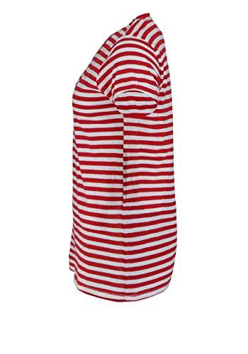 Femme Rayé Pour Tommy T shirt Blanc Jeans Et Rouge q4APz4