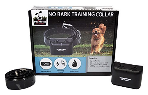 New Rechargeable No Bark Control Training Collar, with both Vibration and Shock Settings.  Waterproof, Submersible, Vibration Warning Prior to Static Stimulation, By Downtown Pet Supply