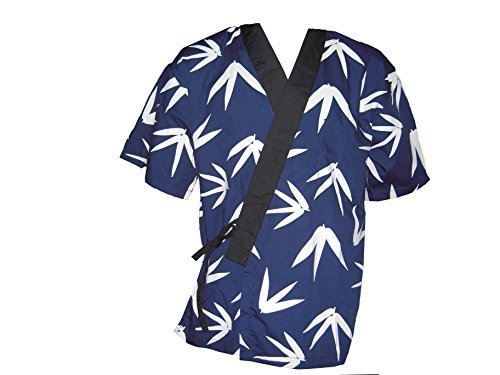 Blue Bamboo Leaves Sushi Chef Uniform in Medium