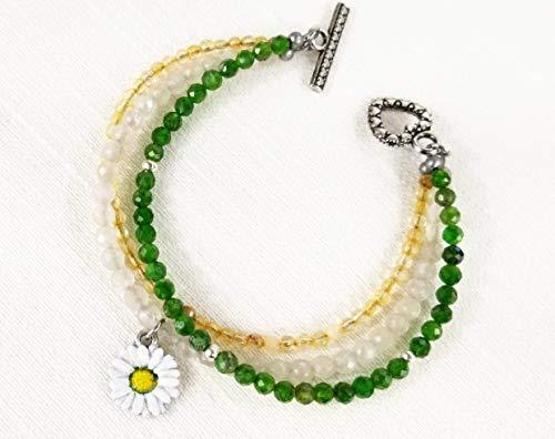Sunny White, Green, Yellow Daisy Blossom w/Crystal 3 Strand Bracelet - Hand Painted