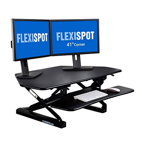 FlexiSpot Standing Desk - 41 Inch Cubicles Corner Desk Riser Computer Riser Fit Dual Monitor with Removable Keyboard Tray (M4B-Corner-Black)