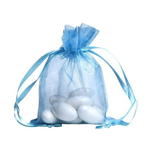 100pcs Light Blue Organza Drawstring Pouches Jewelry Party Wedding Favor Gift Bags 3X4 inches