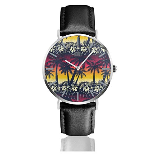 (Tropical Palm Tree Sunset Flower Mens Watches Leather Bands Chronograph Waterproof Analog Quartz Watch Clock Date Sport Business Wristwatch 38mm/1.5