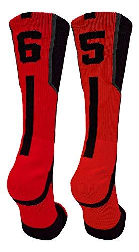 TCK Player Id Black/Red Custom Jersey Number Crew Socks (Pair)