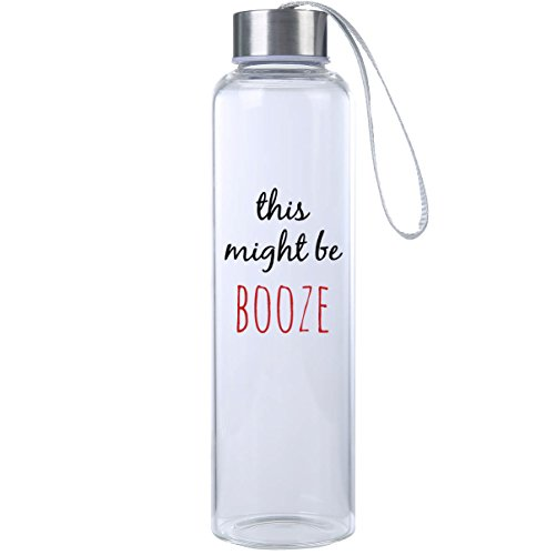 """This Might Be Booze"" Funny Premium Glass Water Bottle 20oz, BPA Free, Secure Cap with Carry Strap, The Perfect Gift and Workout Water Bottle by Mad Style"