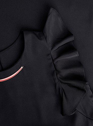 oodji Collection Mujer Vestido de Manga Murciélago con Decoración en el Cuello Negro (2900N)