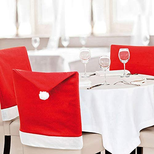 Scorpiuse Christmas Decorations Set of 4 Dining Chair Back Covers Red Santa Hat Xmas Decorations for Dining Room