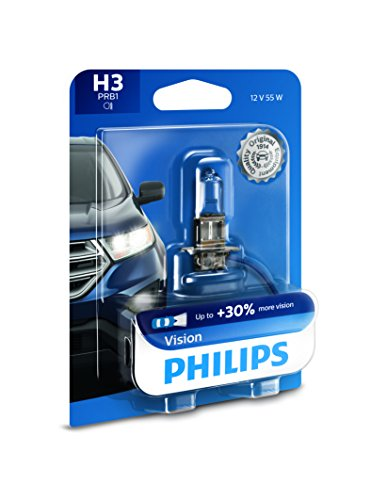 Philips H3 Vision Upgrade Headlight Bulb with up to 30% More Vision, 1 Pack