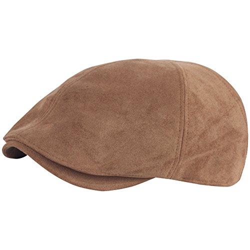 RaOn G67 Men Big Plus Size Plain Suede XL XXL newsboy Cap Cabbie Flat Golf Gatsby Hat (Brown)