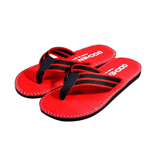 Price comparison product image Han Shi Men Fashion Sandals Summer Stripe Casual Low Heel Slipper Flip Flops (10, Red)