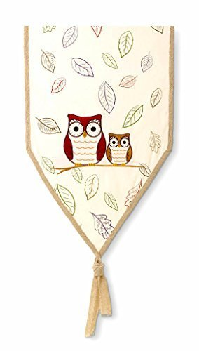 Crimson Hollow Owl Table Runner By Grasslands Road,Multicolor,Large - Charming fall table runner is made of a sturdy cotton/poly blend; trimmed in beige jute Features embroidered owls in fall colors - the larger is cranberry, the smaller is brown Stenciled with fall friendly green, brown, yellow and purple leaves - table-runners, kitchen-dining-room-table-linens, kitchen-dining-room - 41K3jly RsL -