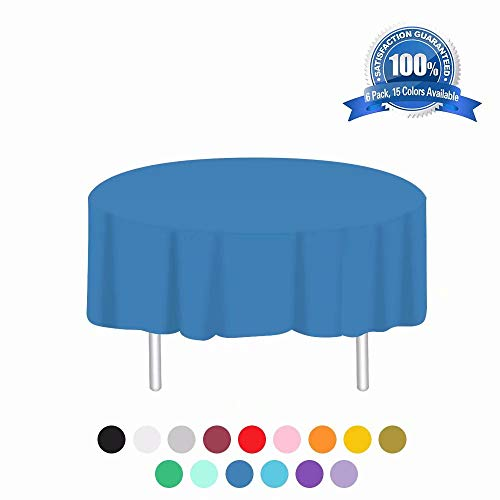 Plastic Tablecloth 6 Pack Disposable Round Table Cloths