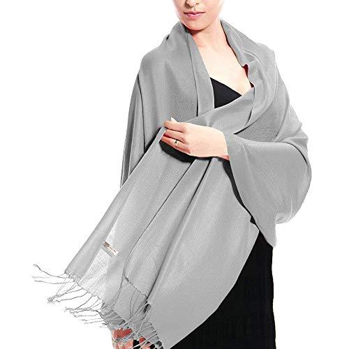Pashmina seta Silver Silky Scialle Grey cotone Accessorio Solid Sciarpa Top Touch 30 di Trend colori con Stola e scialle T7nqIFz