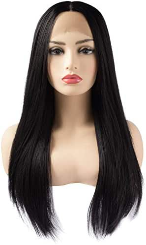 BiBi Girl Fashion Black Lace Front Wig for Women, Natural Middle Part Long Straight Hair Synthetic Heat Resistant Wigs 26 inch