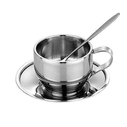 Luxury Stainless Steel 125ml /4.4 fl oz Double Wall Insulated Coffee Tea Cup with Saucer Spoon Set Espresso Cups Kit ()