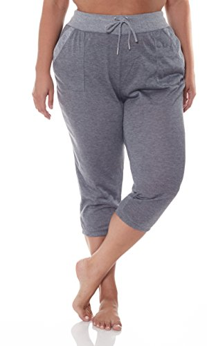 N.Y.L. New York Laundry NYL Women's Workout Mid-Calf Length Jogger Sweatpants With Pockets and Drawstring Waist Grey Plus Size (Ruched Wallet)