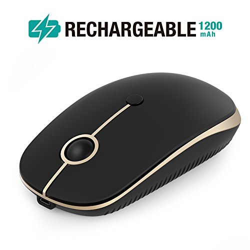 Rechargeable Wireless Mouse, Jelly Comb 2.4G Slim Optical Mice - Less Noise, 3 Adjustable DPI, Portable Mobile Wireless Mouse for Notebook, PC, Laptop, Computer, MacBook - Black + Gold