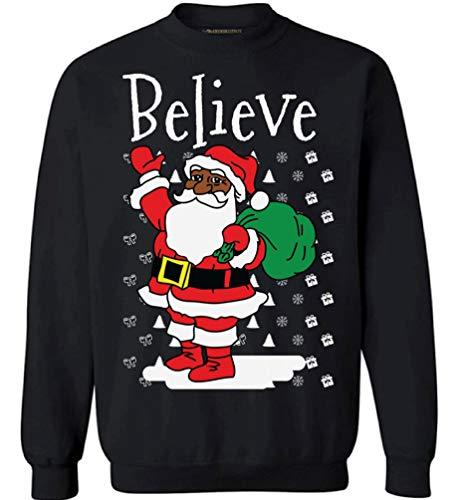 Awkward Styles Believe Santa Sweatshirt African American Santa Sweater Black -