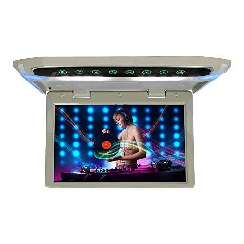 CarThree 10.1Inch Flip Down Monitor 1080P HD TFT LCD Flip Down Car DVD Player Ultra Thin Flip Down DVD Player for Car HDMI SD MP3 MP4 LED (Gray)