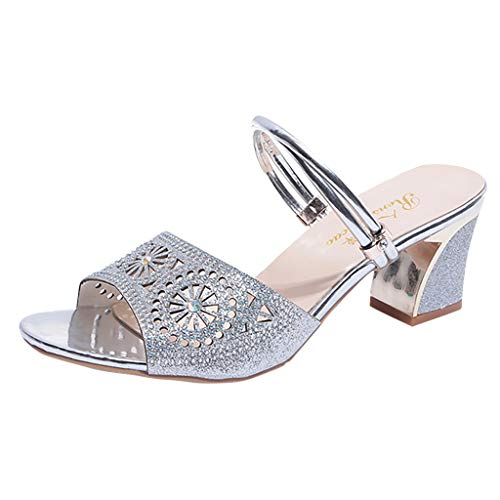 (Peigen Ladies Chic Hollow Out Sandals,Women's Fashion Slip On High Heel Peep Toe Crystal Slipper Casual Sandals Shoes)